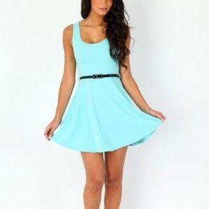 Anthro Bordeaux   Tiffany Blue Skater Dress